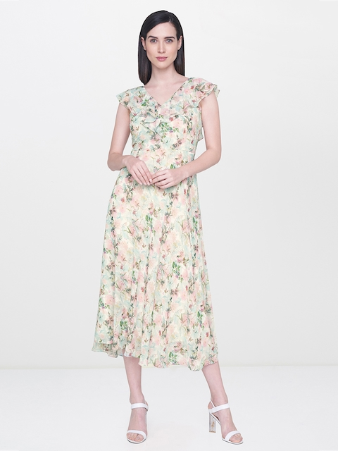 AND Women Beige & Green Printed A-Line Dress