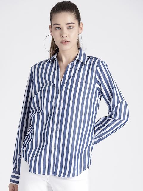 GAP Womens Fitted Boyfriend Stripe Shirt