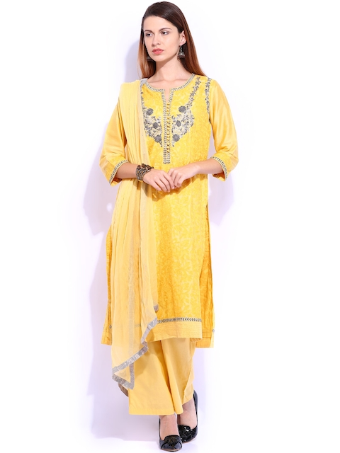 BIBA OUTLET Yellow Embroidered Kurta with Trousers and Dupatta