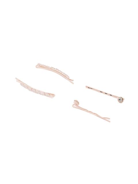 Ayesha Set of 4 Rose Gold Embellished Bobby Pins