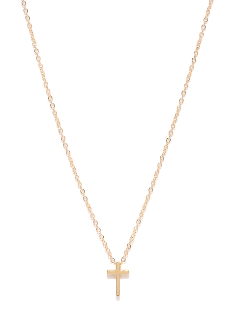 Ayesha Women Gold-Toned Cross Pendant with Chain