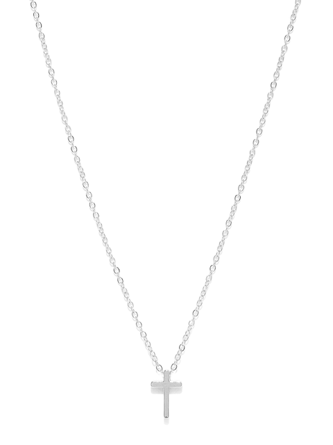 Ayesha Women Silver-Toned Cross Pendant with Chain