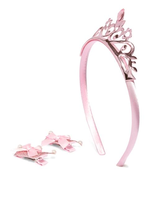 Lil Star by ayesha Girls Pink Set of Tiara Hairband & 2 Hair Clips