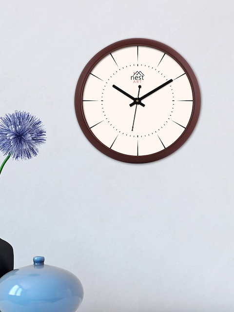 nest ART Off-White Round Solid Analogue Wall Clock