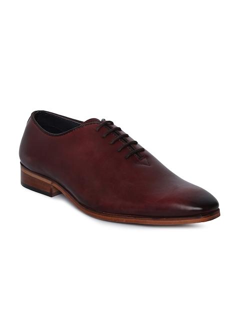 Tresmode Men Maroon Leather Oxfords
