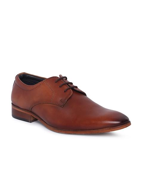 Tresmode Men Tan Brown Leather Formal Derbys