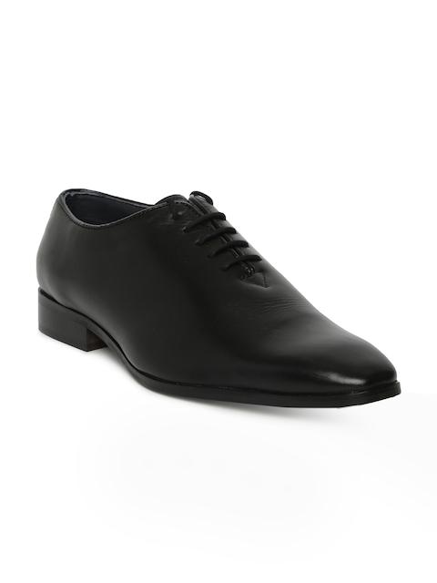 Tresmode Men Black Solid Formal Leather Oxfords