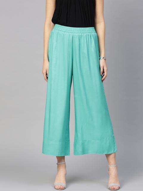 Varanga Women Turquoise Blue Solid Wide-Leg Palazzo