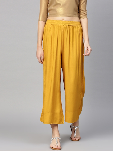 Varanga Women Mustard Yellow Solid Wide-Leg Palazzo