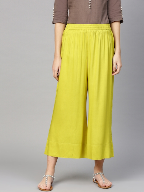 Varanga Women Lime Green Solid Wide-Leg Palazzo