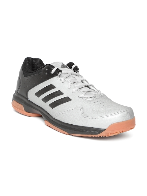 ADIDAS Men Silver-Toned & Black Colourblocked Quick Force Indoor Badminton Shoes