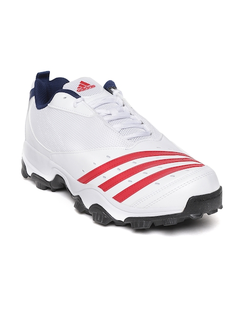 ADIDAS Men White & Red Hase II Striped Cricket Shoes