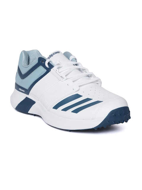 ADIDAS Men White & Blue Adipower Vector Cricket Shoes