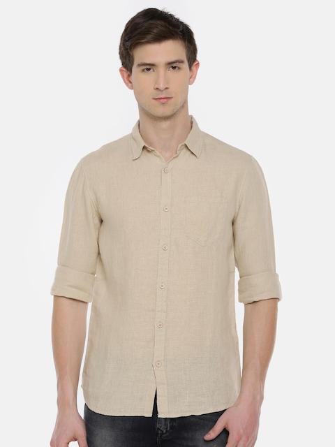 SPYKAR Men Beige Regular Fit Solid Linen Casual Shirt