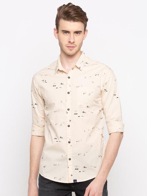 SPYKAR Men Beige Slim Fit Printed Casual Shirt