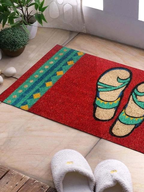 SWHF Red Rectangular Anti-Skid Coir Doormat