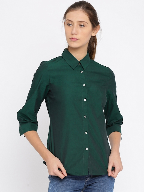 Wills Lifestyle Green Sheer Formal Shirt