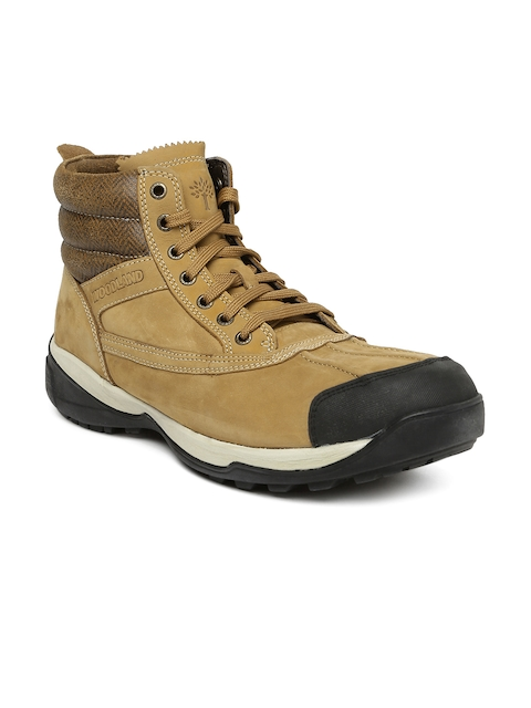 Woodland Men Camel Brown Solid Leather Mid-Top Trekking Shoes