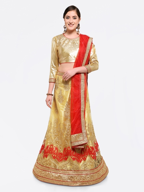MANVAA Beige & Red Semi-Stitched Lehenga & Blouse with Dupatta