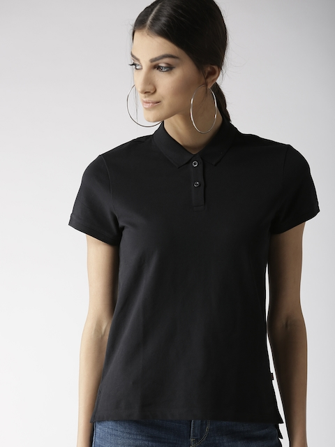 Levis Women Black Solid Polo Collar T-shirt