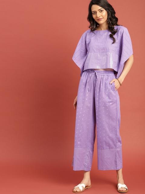 Taavi Women Purple Woven Legacy Kaftan Shimmery Top with Trousers