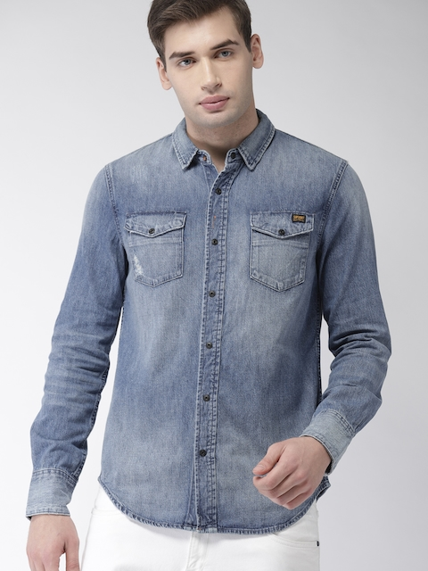 Superdry Men Blue Slim Fit Faded Casual Denim Shirt