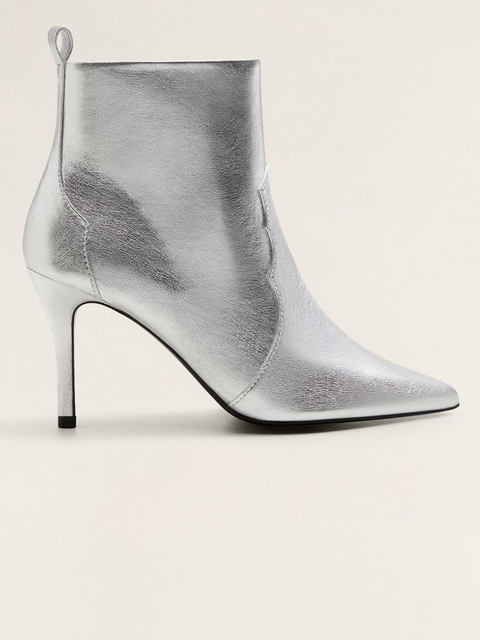 MANGO Women Silver-Toned Solid Heeled Boots