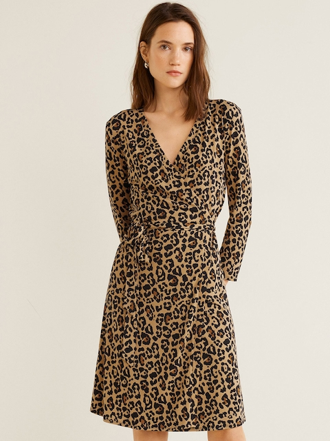 MANGO Women Beige & Black Animal Print Wrap Dress