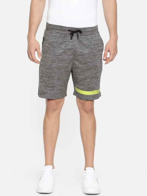 Kappa Men Charcoal Grey Solid Regular Fit Sports Shorts