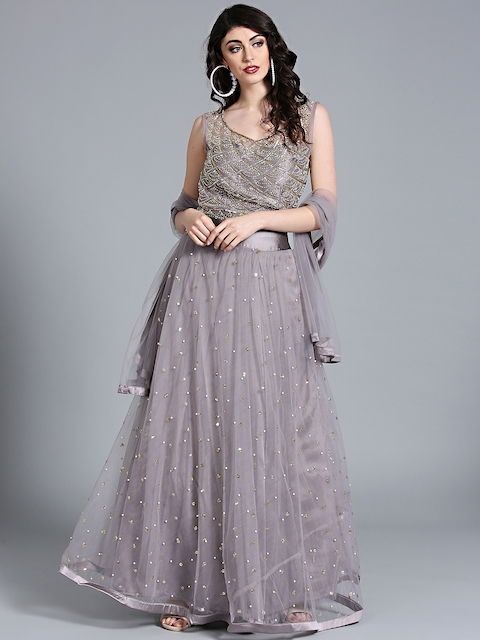 Chhabra 555 Grey Net Embellished Stitched Made to Measure Lehenga Choli with Dupatta