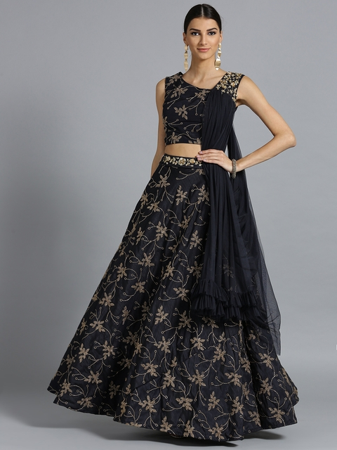 Chhabra 555 Navy Blue & Golden Made to Measure Lehenga Choli with Attached Dupatta