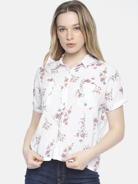 Wrangler Women White Max Regular Fit Printed Casual Shirt