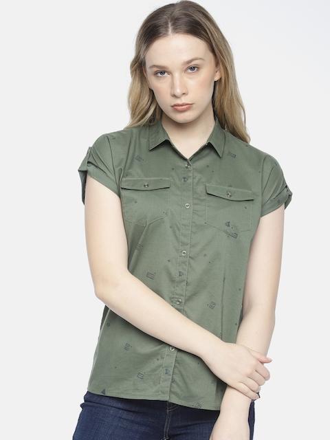 Wrangler Women Olive Green Ashley Regular Fit Printed Casual Shirt