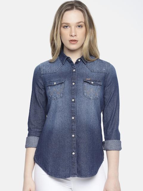 Wrangler Women Blue Katrina Regular Fit Faded Casual Denim Shirt