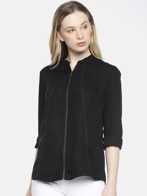 Wrangler Women Black Clara Regular Fit Solid Casual Shirt