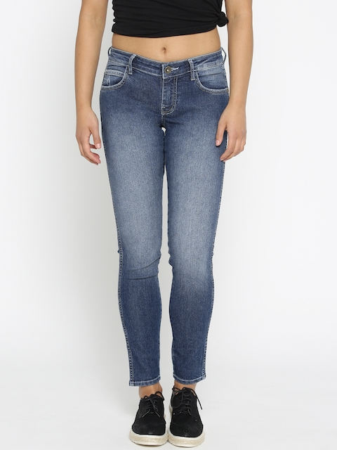 Wrangler Women Blue Skinny Fit Low-Rise Clean Look Non-Stretchable Jeans