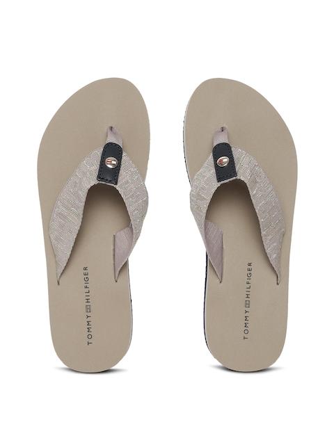 Tommy Hilfiger Women Grey Self Design Thong Flip-Flops