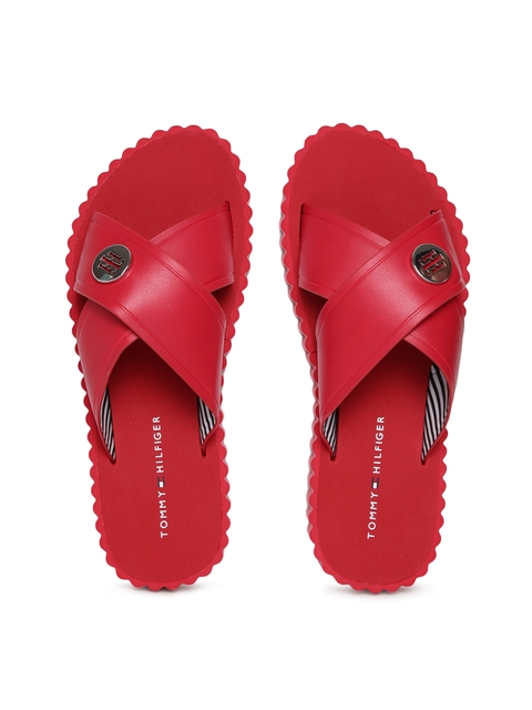 Tommy Hilfiger Women Red Solid Sliders