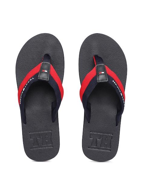 Tommy Hilfiger Men Navy Blue & Red Colourblocked Thong Flip-Flops
