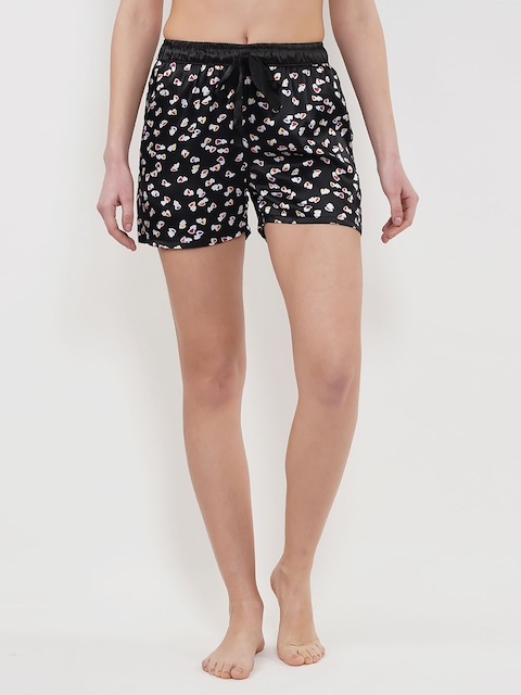 Sweet Dreams Women Black Printed Lounge Shorts LB-301318