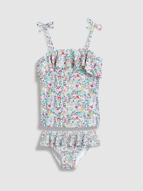 Next Girls White & Blue Printed Swim Suit ST298707