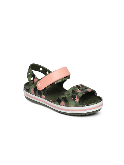 Crocs Kids Green Printed Crocband Seasonal Graphic K Sports Sandals