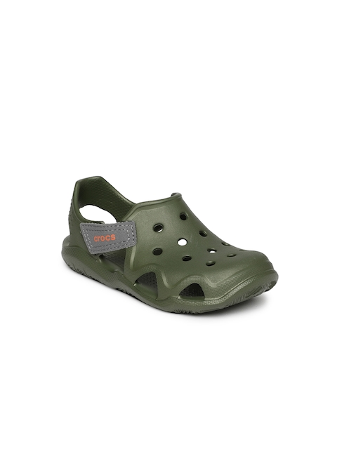 Crocs Unisex Olive Green Solid Clogs