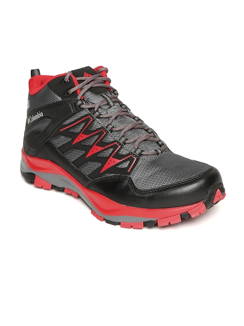 Columbia Men Charcoal Grey & Red Wayfinder Mid-Top Outdry Hiking & Trail Shoes