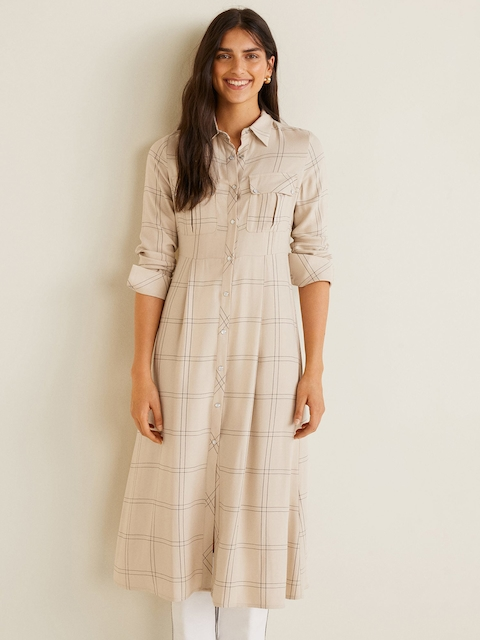 MANGO Women Beige & Black Checked Shirt Dress