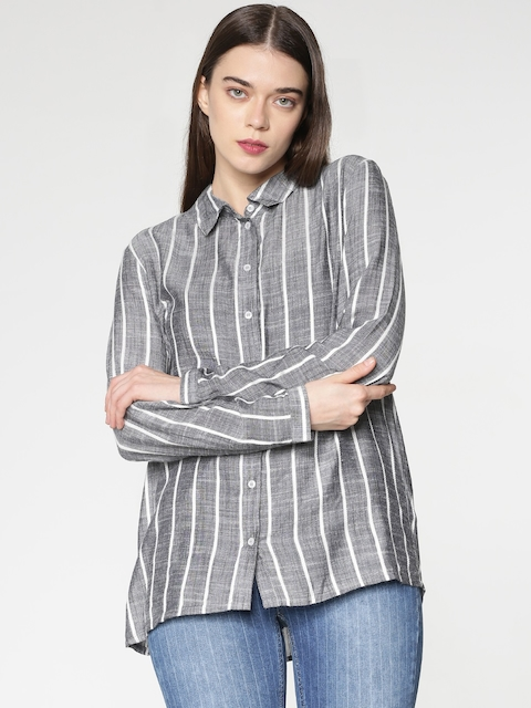ONLY Women Blue & White Boxy Striped Casual Shirt