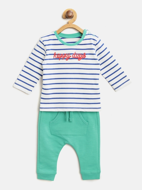 Marks & Spencer Kids Blue & White Striped T-shirt with Pyjamas