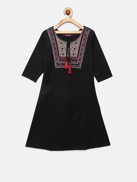 Sangria Girls Black Embroidered A-Line Kurta