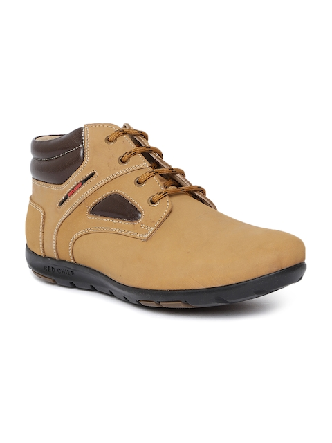Red Chief Men Beige Solid Leather Mid-Top Flat Boots