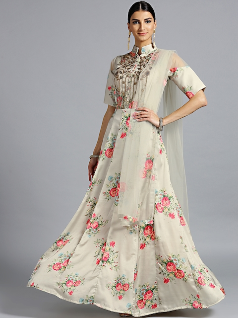 Chhabra 555 Women Grey & Red Printed Made to Measure Gown with Dupatta